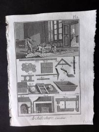 Diderot 1780's Antique Print. Architecture, Carreleur 01 Tiler